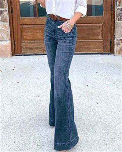 Vintage High Waist Stretchy Bell Bottom Jeans