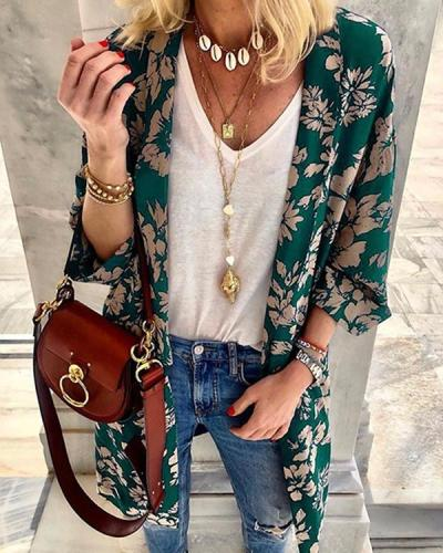 Floral Print Shawl Kimono Top Loose Plus Size Shirt Coat Bohemia Long Shirt Blouse