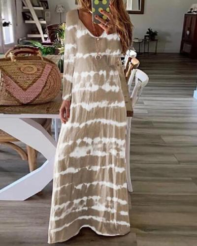 Casual Tie Dye Long Sleeve V-neck Maxi Dress