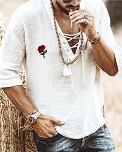Men's Retro Half Sleeve Embroidered Shirt