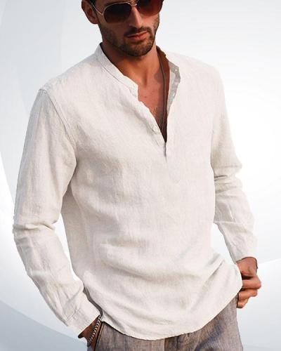 Men's Cotton Linen Henley Shirt Long Sleeve Casual T-Shirt