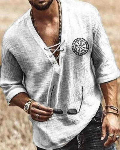 Men's Plain V-Neck Casual Loose Shirt