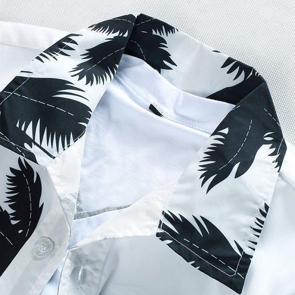 Aloha Beach Quick Dry Coconut Tree Printing Loose Hawaiian Shirts