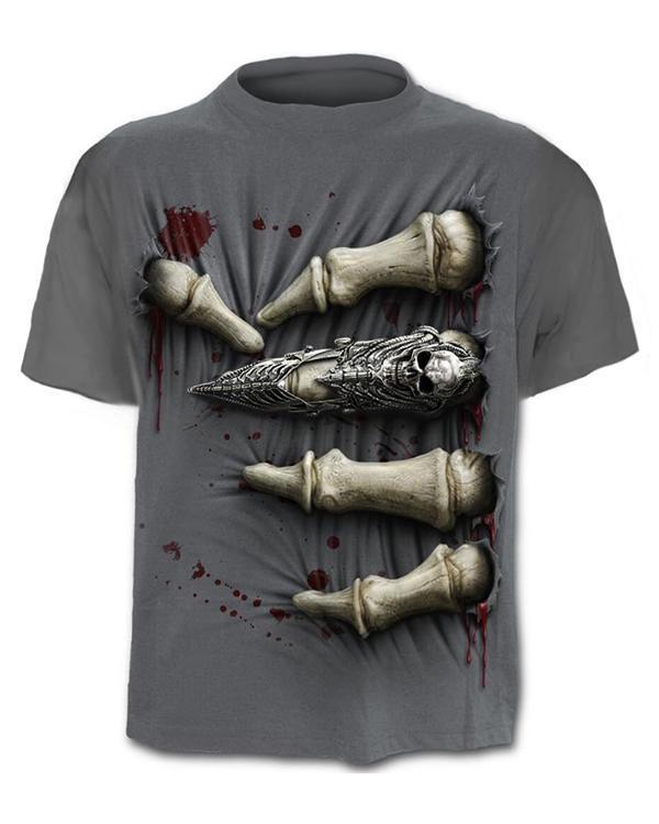Stylish Gray Skull Grip 3D Round Neck T-shirt Tops