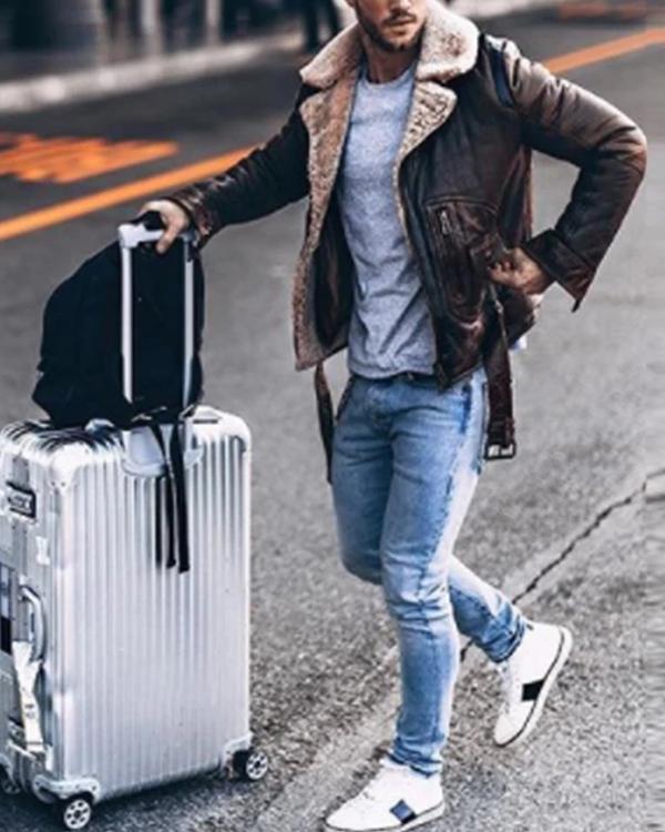 Lapel Velvet Long Sleeve Leather Jacket
