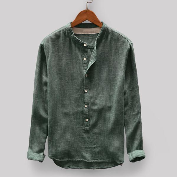 Vintage Solid Color Stand Collar Long Sleeve Loose Casual T-shirt For Men