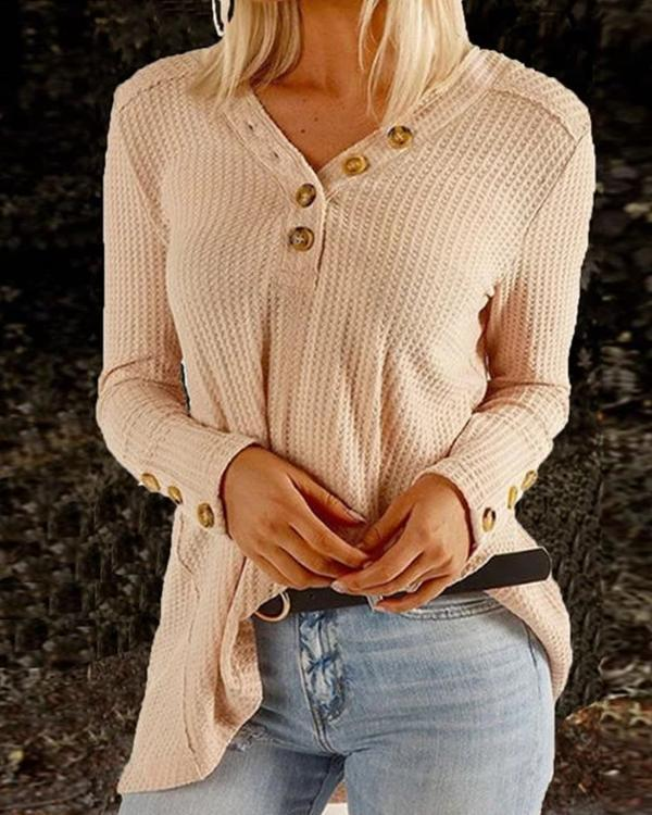 V Neck Long Sleeve Solid Buttoned T-Shirts