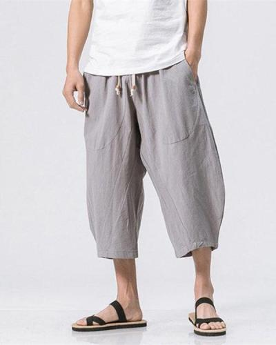 Breathable Cotton Linen Calf Length Loose Drawstring Shorts