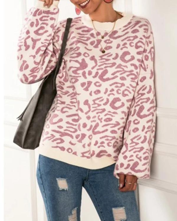 Leopard Print Round Neck Long Sleeve Oversize Pullover Sweater