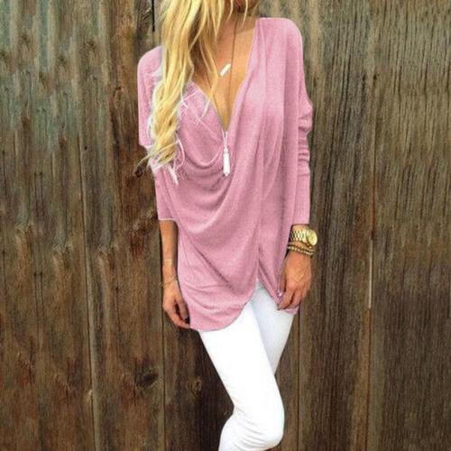 Solid Color Seven-Point Sleeve Deep V Neck T-shirts