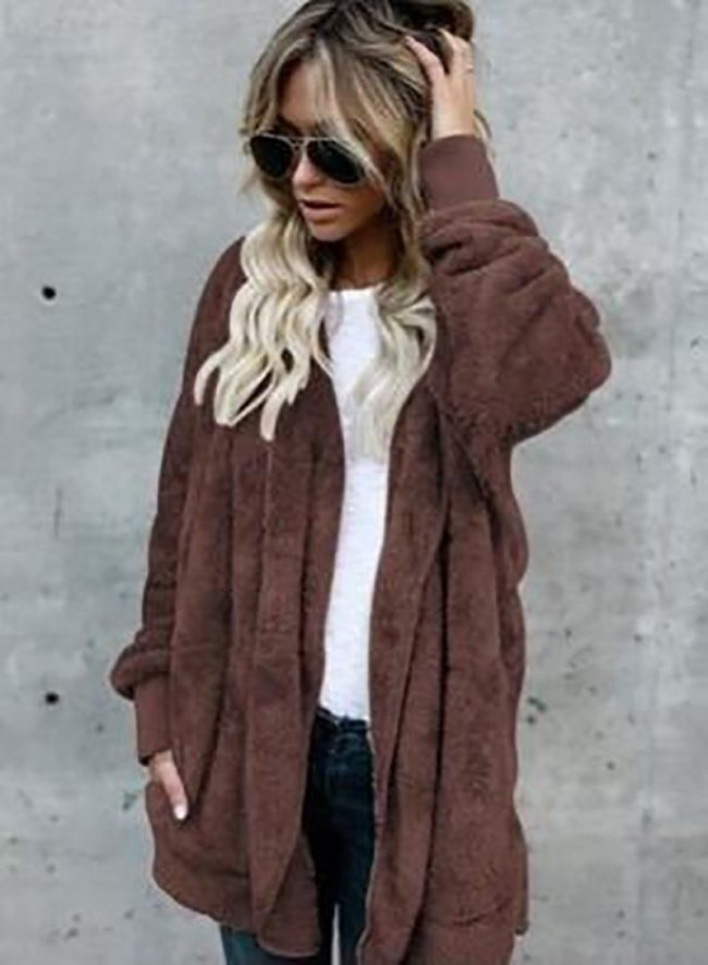 Solid Casual Long Sleeve Hoodie Faux Fur Velvet Pockets Coat