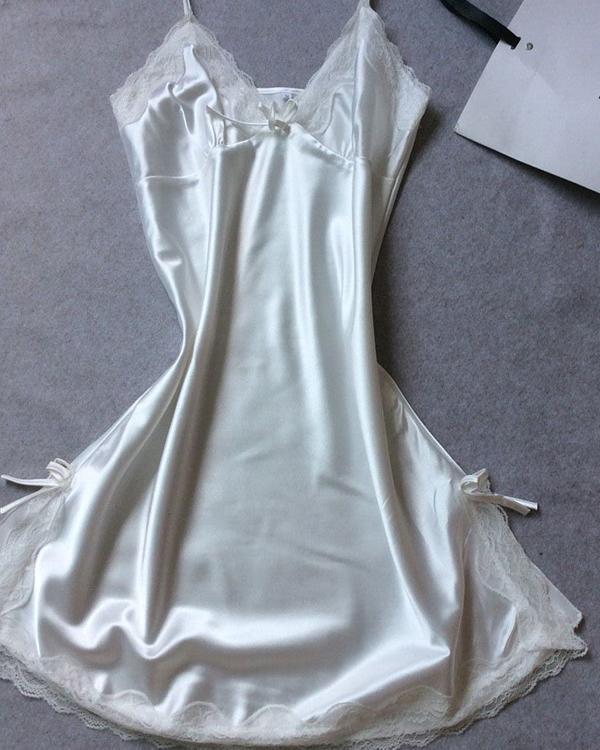 Solid Color Trim Satin Sleepwear Cami Dress