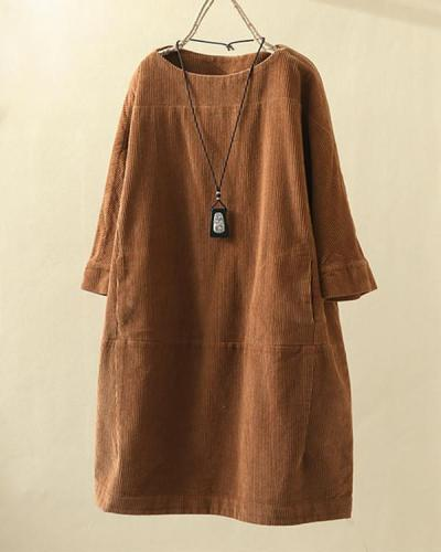 Vintage Pockets Corduroy Solid Color Loose Casual Dress