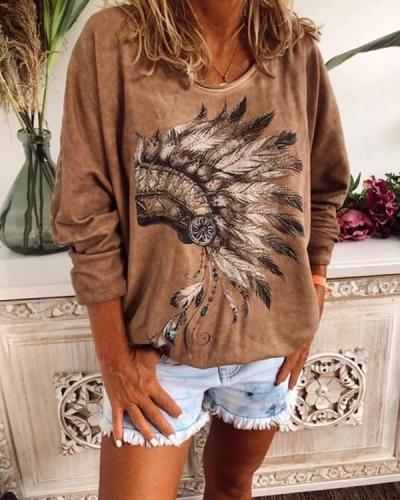 CASUAL PLUS LONG SLEEVE PRINTED T SHIRT TOPS