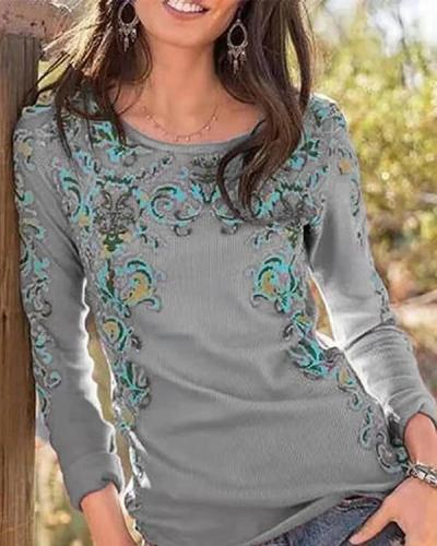 Slim Round Neck Fashion Print T-shirt