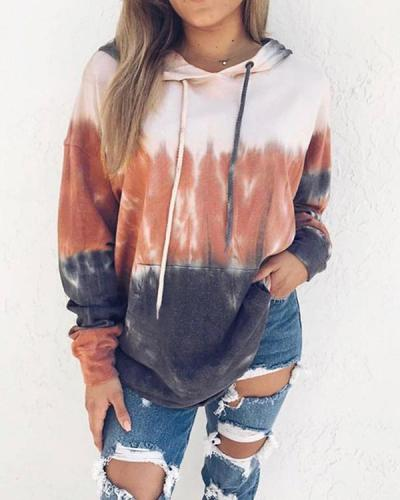 Women's Winter Printing Gradient Long Sleeve Hoodies Top