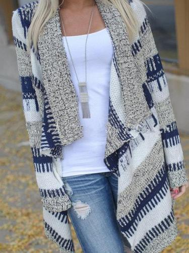 Blue Stripes Long Sleeve Asymmetric Kimono Coat