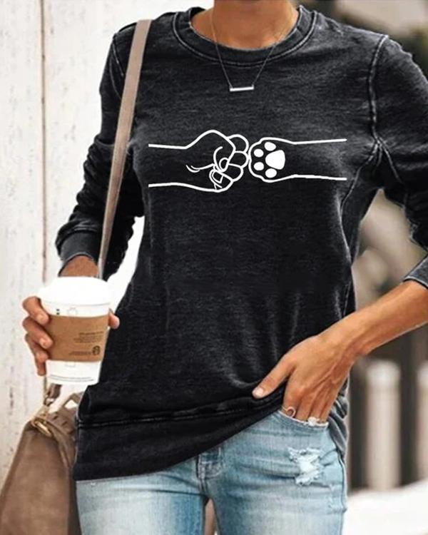 Plus Size Print Casual Long Sleeves T-shirt Pullover Tops