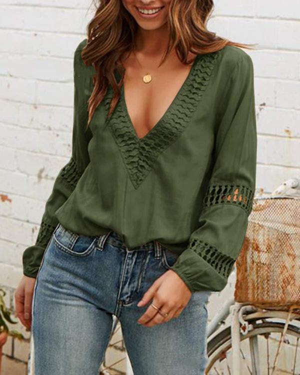 Lace Splicing Hollow Out Deep V-Neck Blouse