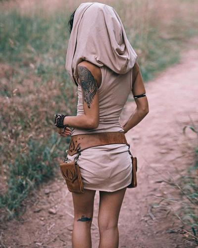 Women Vintage Hoodie Mini Dress