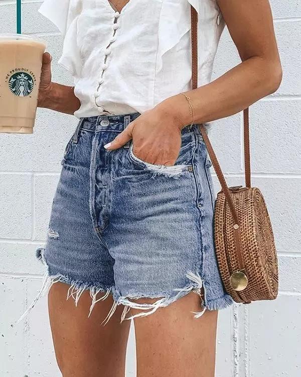 Light Blue Denim Holiday Solid Color Shorts Pants