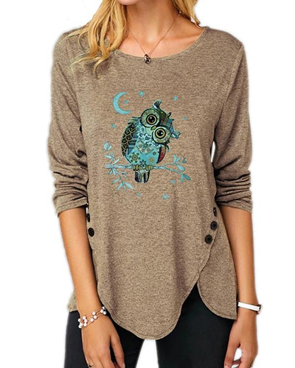 Plus Size Long Sleeve Casual Owl Print Round Neck Tunic Top Blouse T-Shirt
