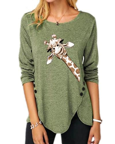 Plus Size Long Sleeve Casual Giraffe Print Round Neck Tunic Top Blouse T-Shirt