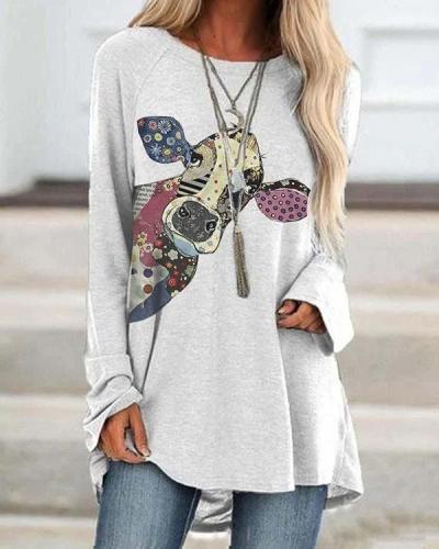 Women's Painted Animal Cow Print T-shirt