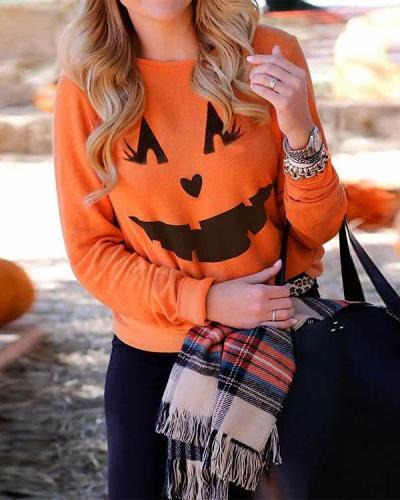 Women Halloween Top Blouse Pullover Long Sleeve Sweatshirt Hoodie