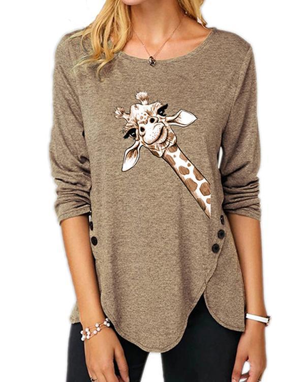 Plus Size Long Sleeve Casual Giraffe Print Round Neck Tunic Top Blouse T-Shirt