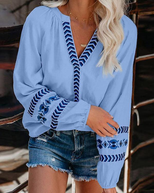 V-neck Loose Pullover Shirt