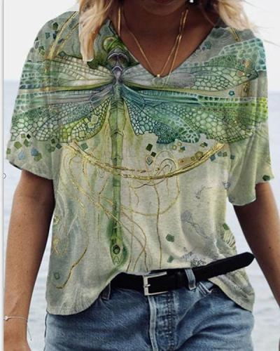 Women's Dragonfly Printed V-Neck T-shirts