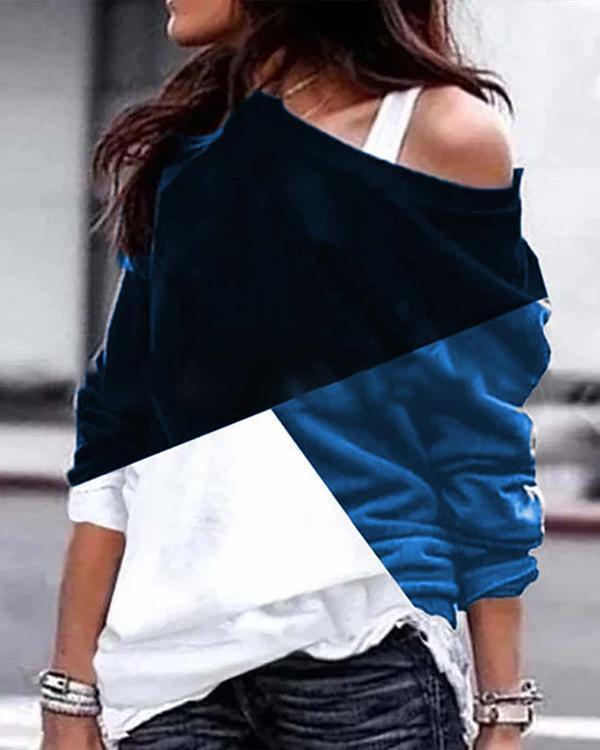 Color Block One Shoulder Stylish Women Daily Fashion Fall Tops Blouses