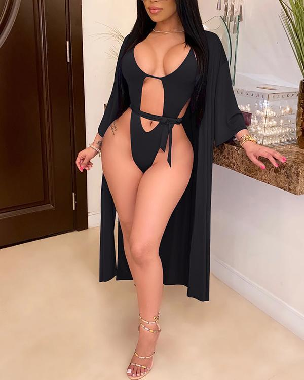 Solid Color Sexy One Piece Swimsuit + Long Smock