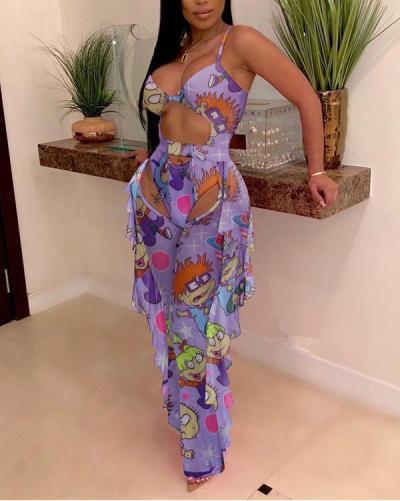 Print Cutout One-Piece Swimsuit & Ruffle Mesh Sheer Pants Set
