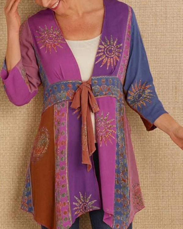 Women Autumn Plus size Long Sleeve Printed Outerwear