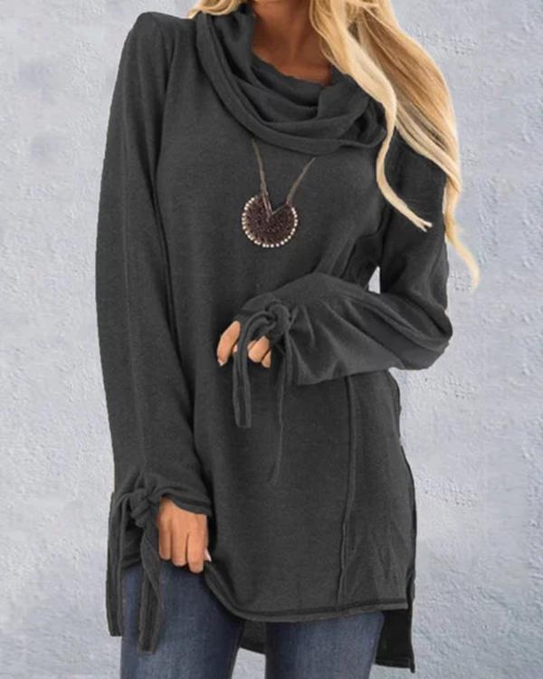 Casual Cowl Neck Plus Size Shirt
