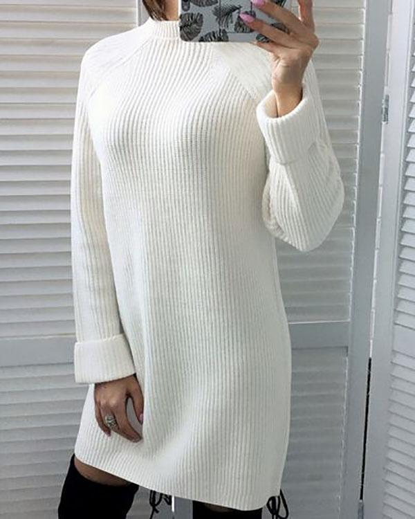 Womens Fashion High Collar Sweater Dress Long Sleeve Casual Knitted Dress