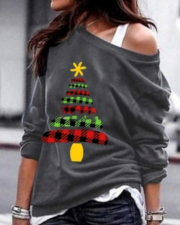 Christmas One Shoulder Stylish Women Daily Fashion Fall Tops Blouse