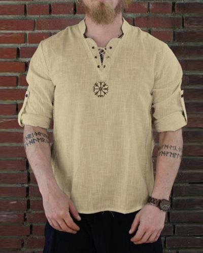 Embroidered  Men's Round Neck Cotton And Linen Long Sleeve Shirt