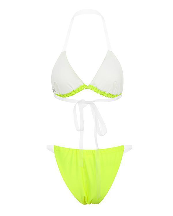 Halter Spaghetti Strap Ruched Bikini Set With Sheer Mesh Cover Up