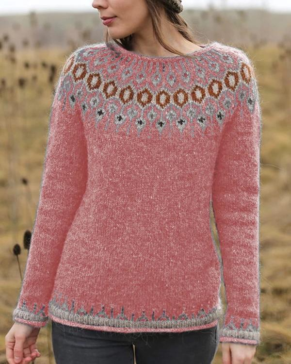 Women's Solid Printed Knit Slim Sweaters