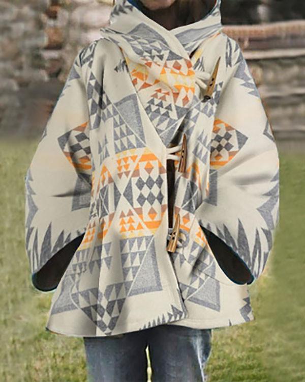 Horn Button Asymmetric A-Line Mid-Length Hooded Overcoat