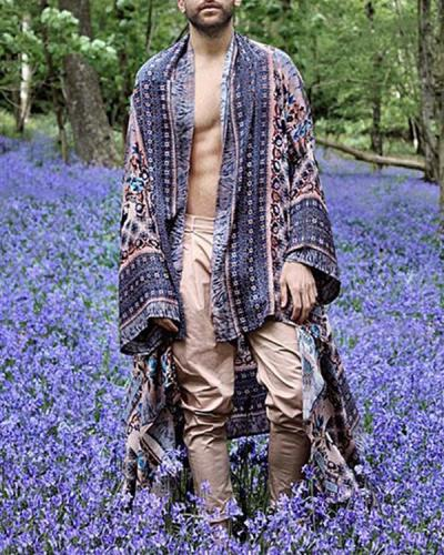 Men Bohemia Ethnic Style Long Sleeve Kimono Cardigan Beach Casual Long Cardigan