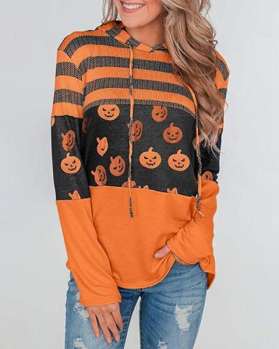 Pumpkin Print Color Block Splicing Drawstring Hoodies