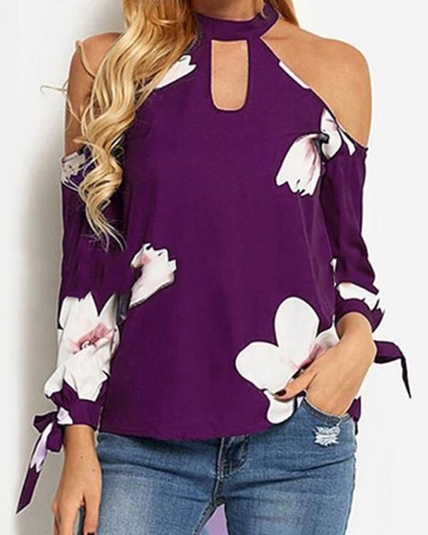 Women Off Shoulder Printing Top Long Sleeve Blouse Ladies Casual Tops Shirt