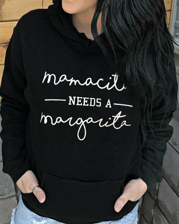 Letter Print Hoodie With Pocket