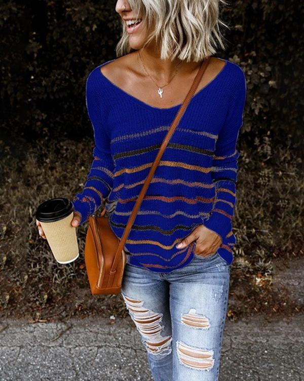 V-Neckline Stripe Casual Loose Regular Shift Sweaters