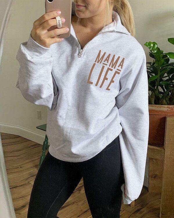 Mom Life Letter Printed Zip Sweatshirt