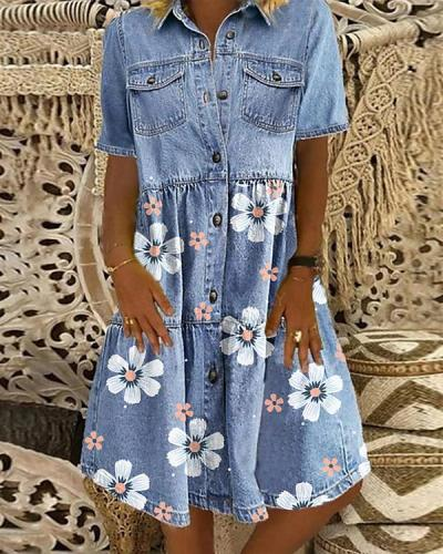 Women's Floral Print Denim Shirt Dress Knee Length Dress
